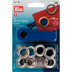 Occhielli foro 14 mm colore argento (10 pezzi e attrezzo per il montaggio)