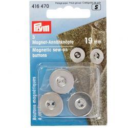 Bottoni magnetici da cucire 19 mm argento