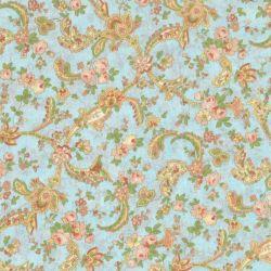 Tessuto americano floreale con fondo azzurro alto 280 cm