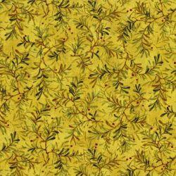 Tessuto con rami di pino su fondo giallo alto 270 cm