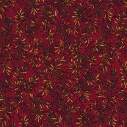 Tessuto con rami di pino su fondo bordeaux alto 270 cm