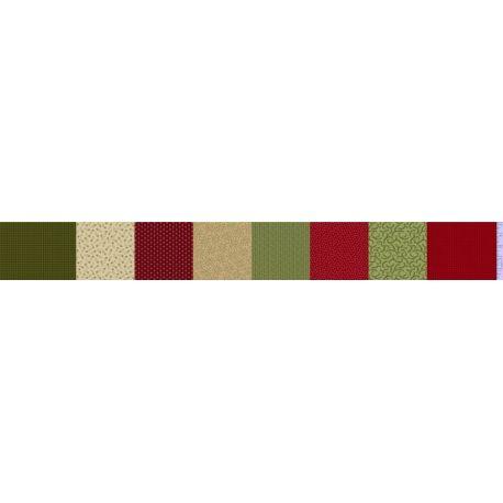 Tessuto Americano Patches of Joy Verde e Rosso