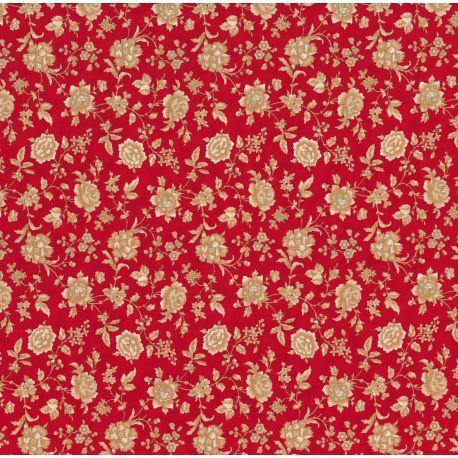 Tessuto Americano Cinnaberry by 3 Sisters Floreale Medio Ecru su Rosso