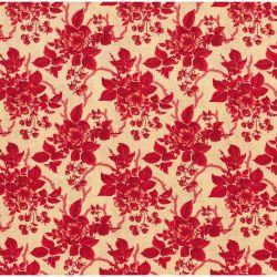 Tessuto Americano Cinnaberry by 3 Sisters Floreale Mazzolini Ecru su Rosso