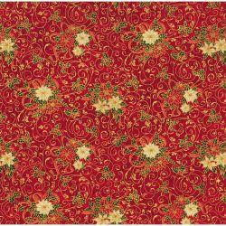 Tessuto Americano Noel Stelle di Natale su Sfondo Rosso