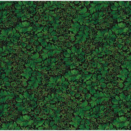 Tessuto Americano con Foglie Verdi su Sfondo Nero