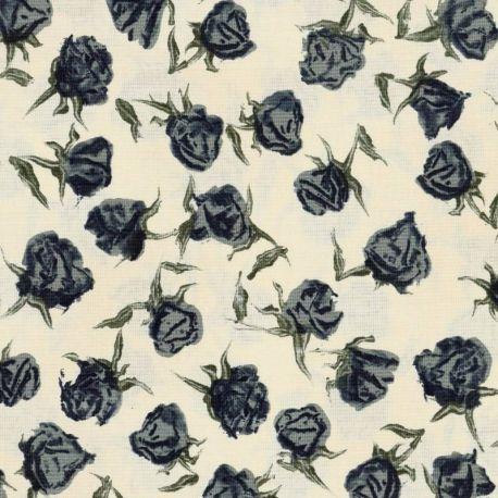 Tessuto Americano The Wordsmith by Janet Clare Rose Blu su Sfondo Beige