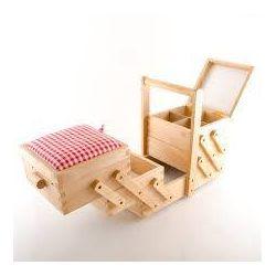 Scatola da cucito in legno con tessuto