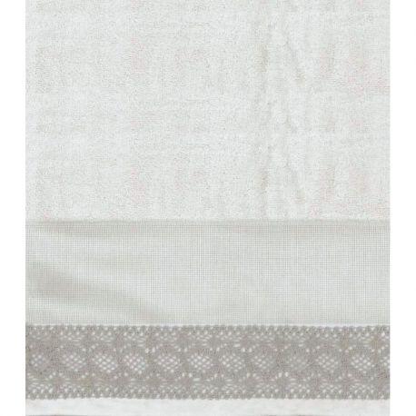 Coppia asciugamani cotone e lino - pizzo