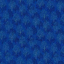 Tessuto blu con alberi e neve
